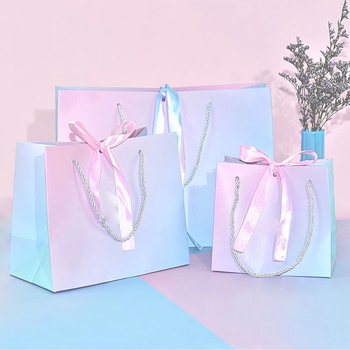 Manufacturer Free Samples Wholesale Luxury Shopping Custom Logo Gradient Color Paper Gift Bags