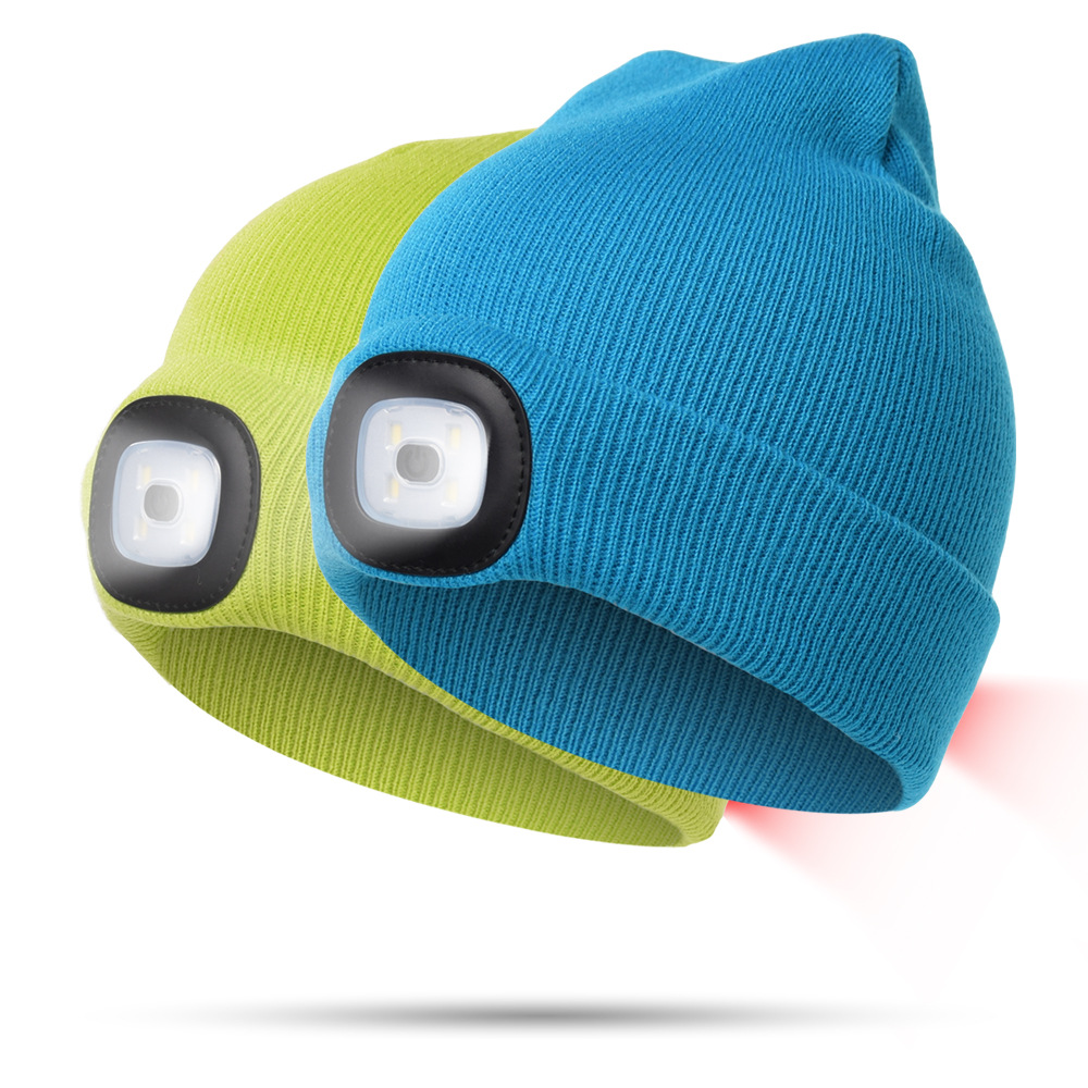 Super Bright Double Headlamp Mini ABS Emergency Led Beanie Cap Hat with USB