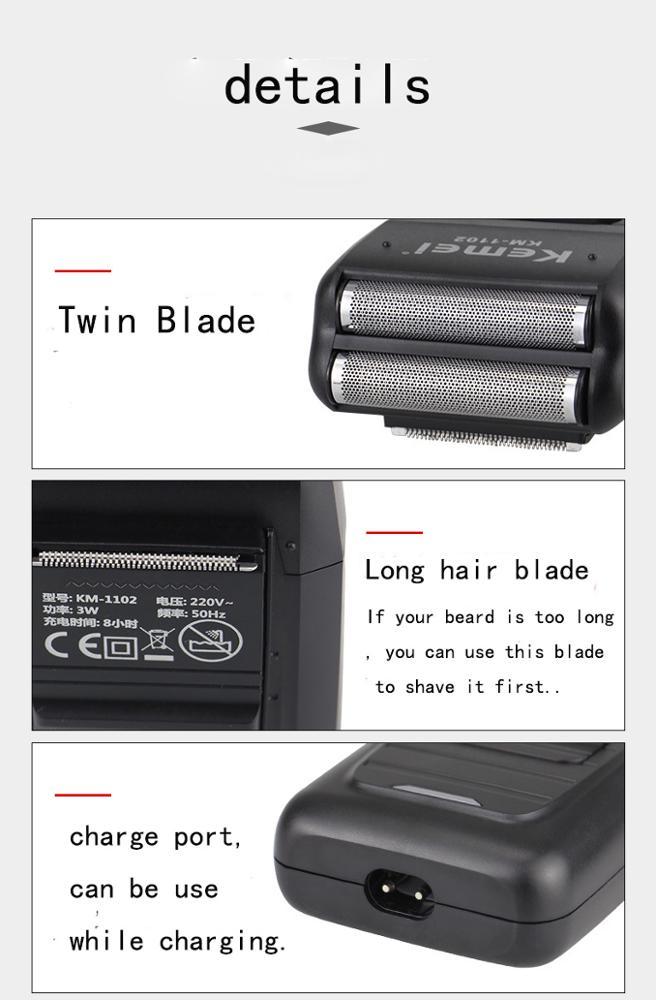 Kemei-1102 Аккумуляторная Беспроводная электрическая бритва для мужчин, двойное лезвие, возвратно-поступательная Бритва для бороды, уход за лицом, Многофункциональный прочный триммер