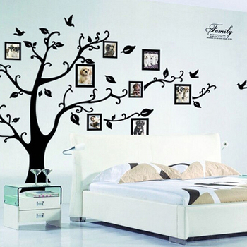 Large removable black photo family tree 3d wall stickers home decor