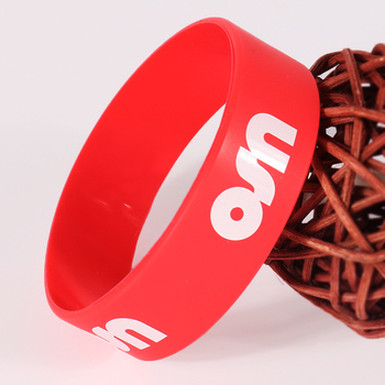 Customized logo silkscreen printed red silicone bracelet/band/wristband