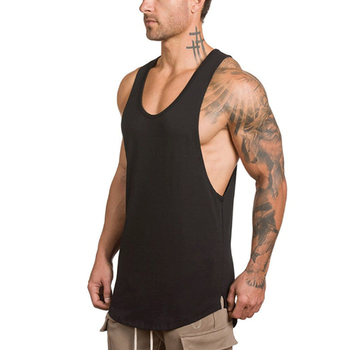 Wholesale Cotton Curve Hem Blank Mens Athletic Work Out Compression Tank Top