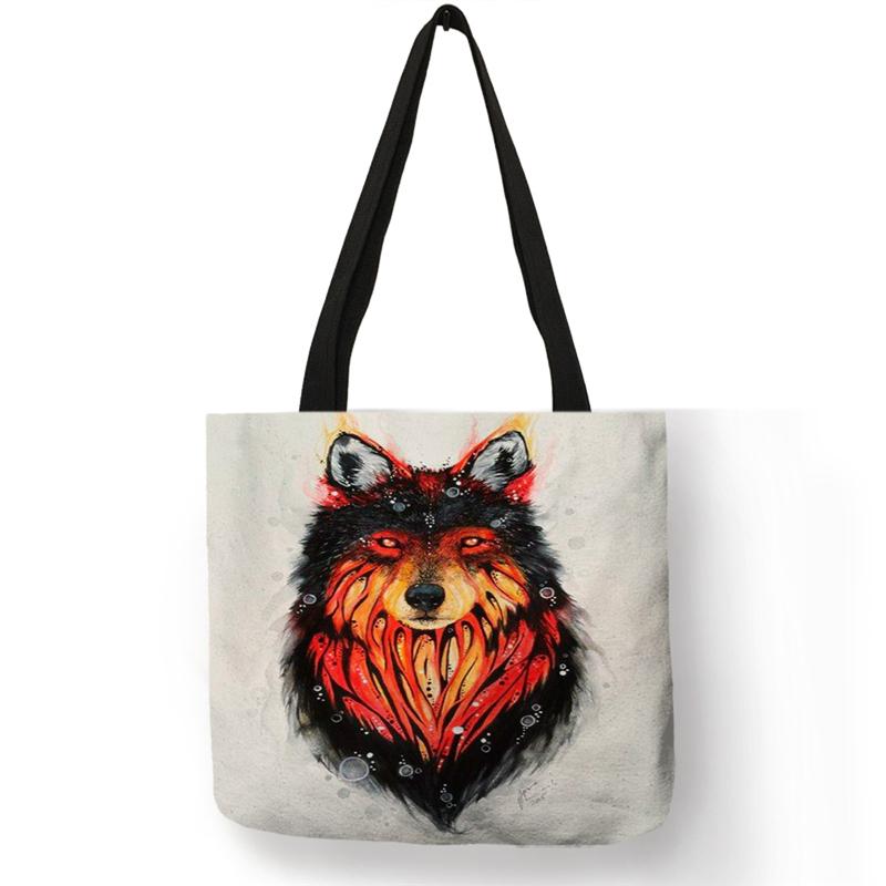 SY0045 дропшиппинг крутые сумки с принтом волка женские мужские сумки эко многоразовые хозяйственные сумки с принтом маслом Наплечные сумки д...(Китай)