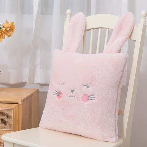 Cozy pink embroidered rabbit cute cushion cover