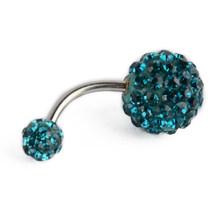 Хрустальный двойной диско шар Ferido пупка кольцо стразы кольцо для пирсинга пупка ювелирные изделия 8 мм сексуальные ювелирные изделия(Китай)