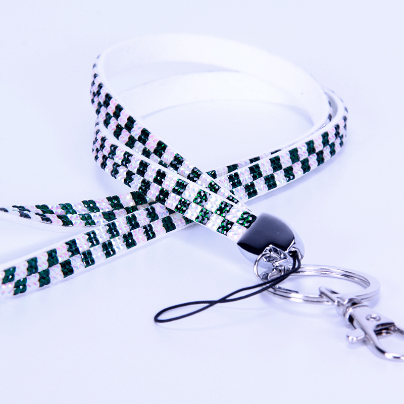 Clear bling diamond rhinestone crystal neck lanyards with metal fitting