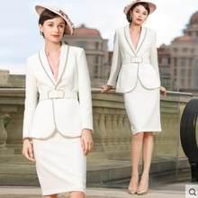 Женский офисный костюм, элегантный пиджак, пиджак и юбка, деловая одежда для работы, комплекты из двух предметов, униформа(Китай)