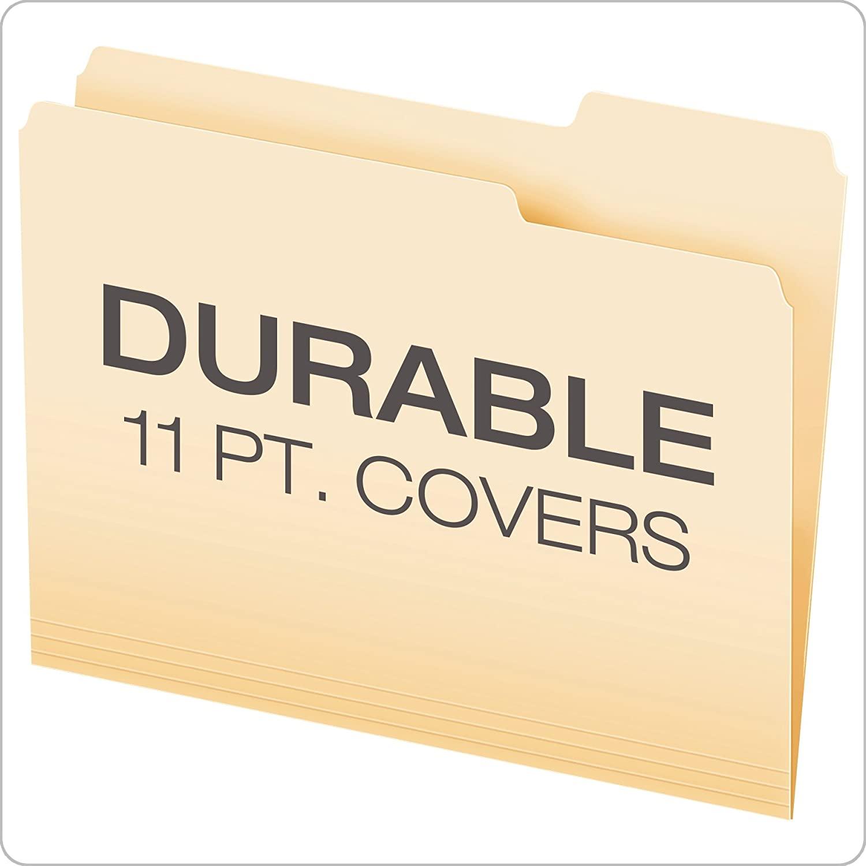 Папки для файлов, размер букв, 8-1/2x11 дюймов, Классическая Манила, 1/3 вырезанных вкладок слева, справа, в центральных позициях, 100 на коробку