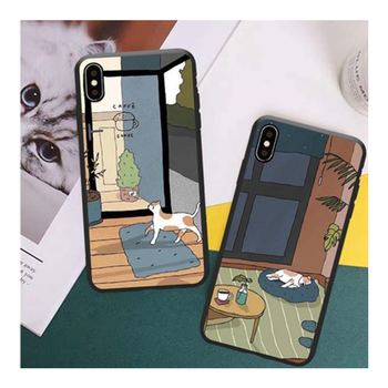 Coffee Shop Style Cute Cat Phone Cases for iPhone 5 5S SE 6 6S 6P 6SP 7 8 iX XS XR 11 11Pro 11Pro Max