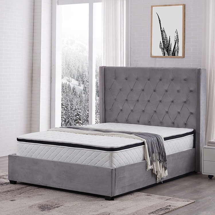 ottoman bed European style grey colour storage  leather  modern hidden single beds for adults