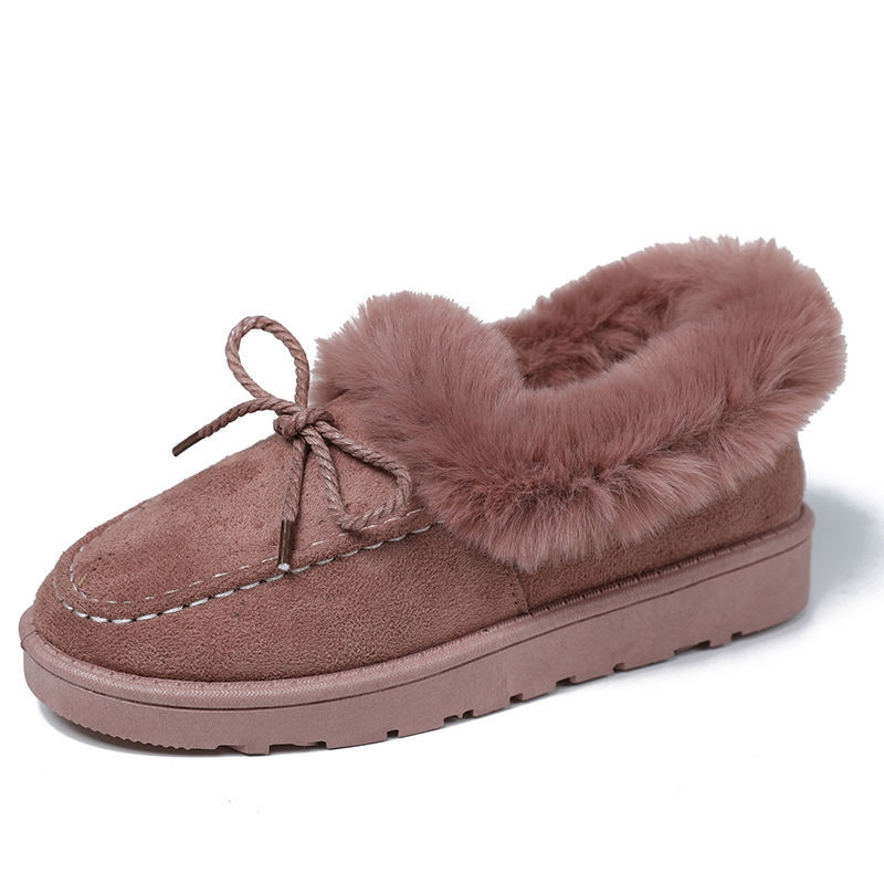 IG Popular Winter Spring PU Leather Shoes Fluffy Ankle Fur Shoes Flat Warm Woman Boot Shoes Stock