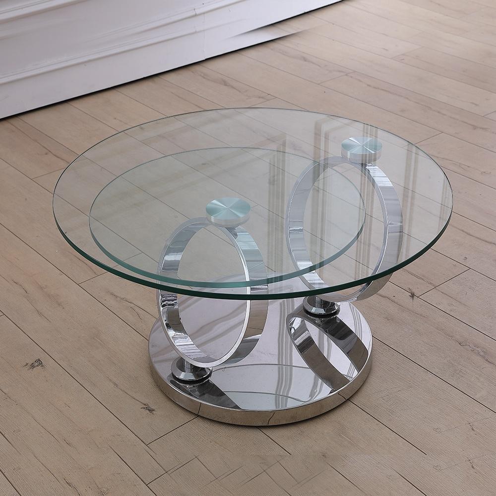 Складной стеклянный круглый журнальный столик