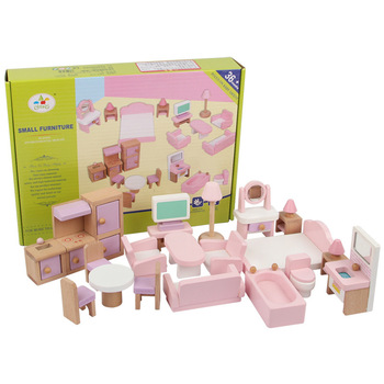 Home Kitchen Small DIY Accessories Wood Model Kindergarten Baby Room Doll House Miniature Wooden Furniture Toys For Girls