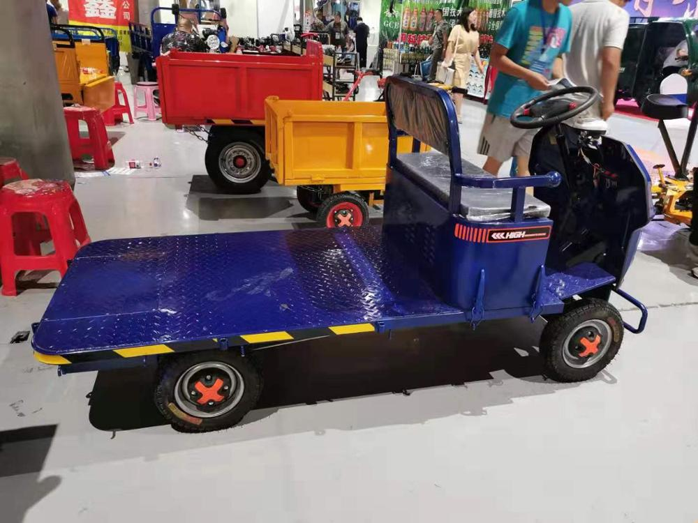 Warehouse turnover goods electric trolley Hand-Push mute flatbed truck electric dumper Electric trolley carrying