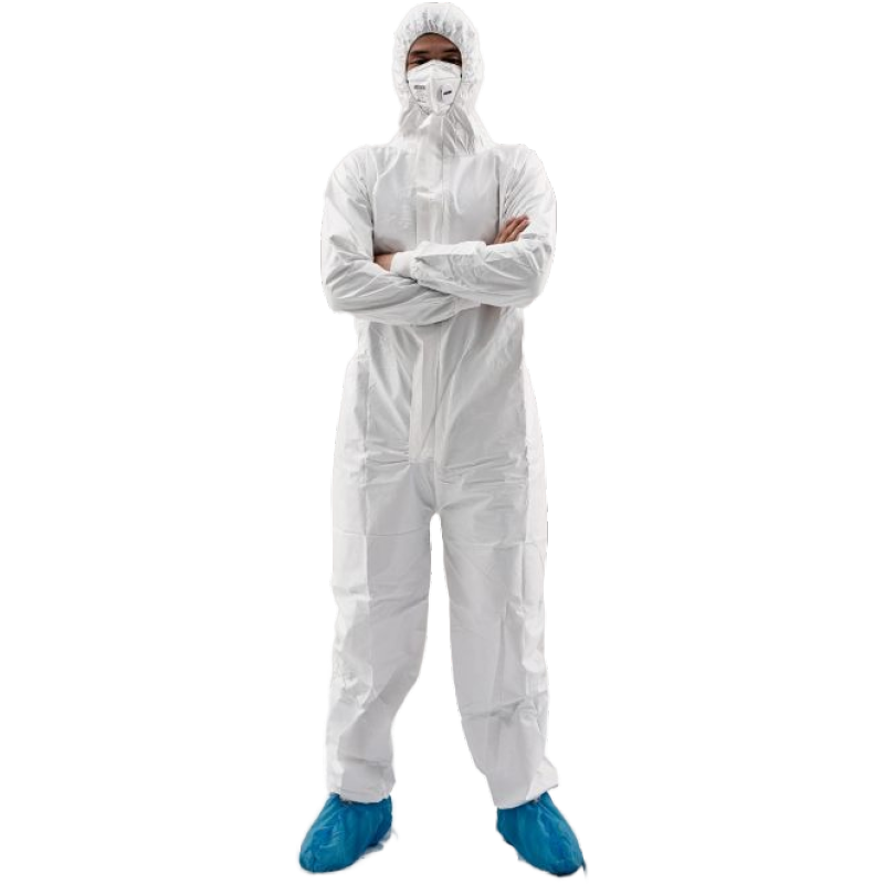 Type 5/6 Microporous Coverall Disposable White Waterproof Hooded Coverall - KingCare | KingCare.net