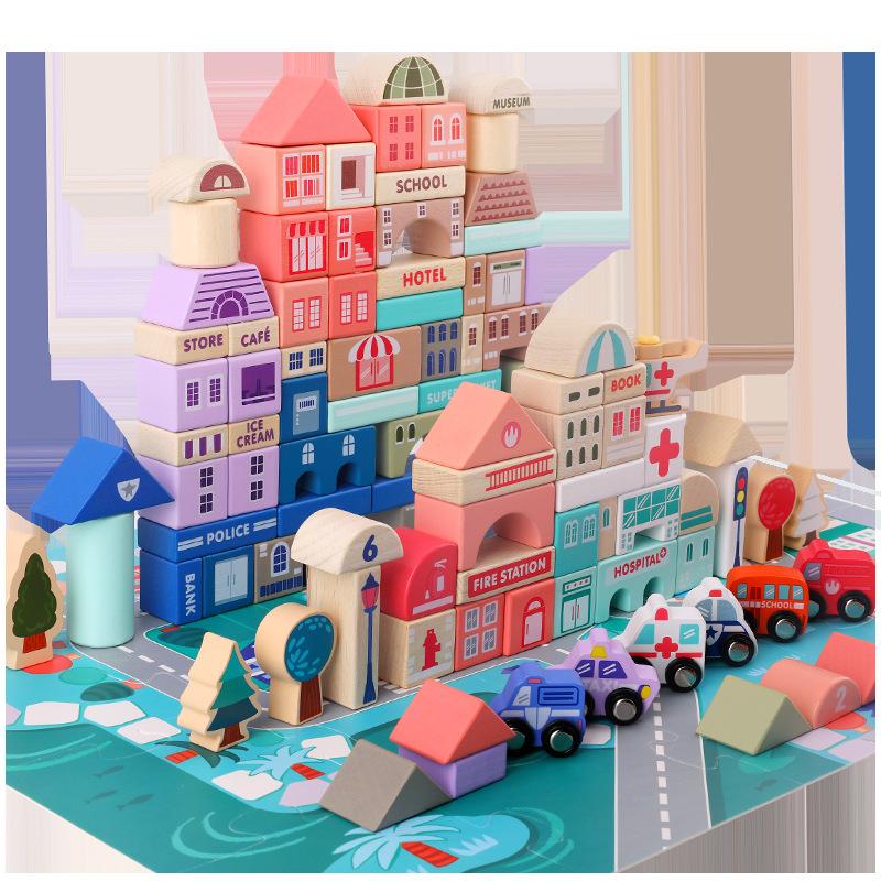 Экологически чистые деревянные строительные блоки «сделай сам», игрушки для детей, деревянные игрушки, развивающие игрушки