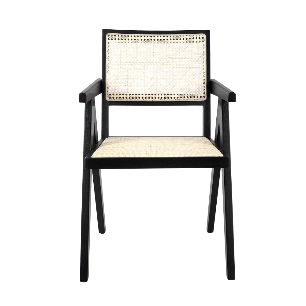 Nordic Living Room Solid Wood Chair  Furniture Antique Cane Rattan Dining Chair Wooden Arm Chairs Rattan