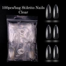 100 шт./Опп белый/натуральный/прозрачный кончики для ногтей длинные шпильки накладные полностью закрытые лаковые ногти искусственный пресс ...(Китай)