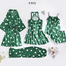 JULY'S SONG, пижамный комплект из 5 предметов, женская сексуальная пижама на весну и лето 2020, ночная рубашка в горошек, шорты, ночная рубашка, пижам...(Китай)