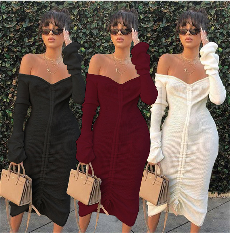 Женское трикотажное платье с драпировкой, элегантное черное плиссированное платье с открытыми плечами, длинным рукавом и рюшами, платье с кулиской, осень 2021
