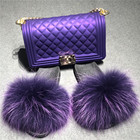 Women Hand Bags And 2021 Women Colorful Hand Bags Cross Body Wholesale Luxury Fashion Sets Jelly Purse And Fur Slides Set