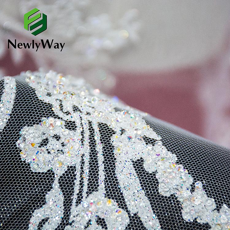 Блестящая Высококачественная модная блестящая вышитая кружевная Тюлевая ткань для свадебных женских платьев