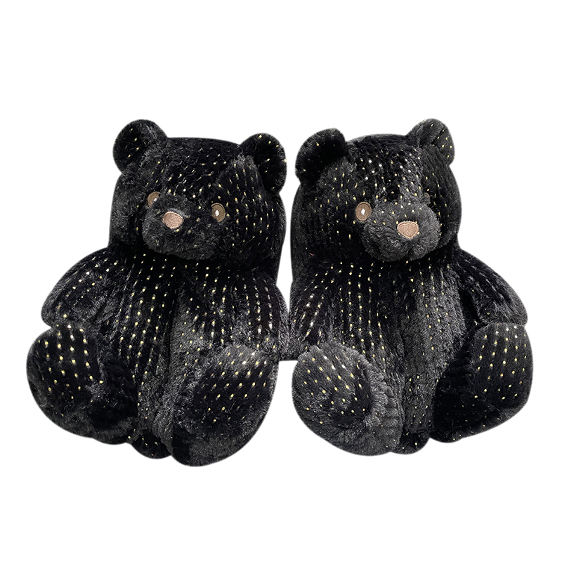 2021The latest hot selling plush home indoor slippers glow in the dark plush soft bear plush slippers for women