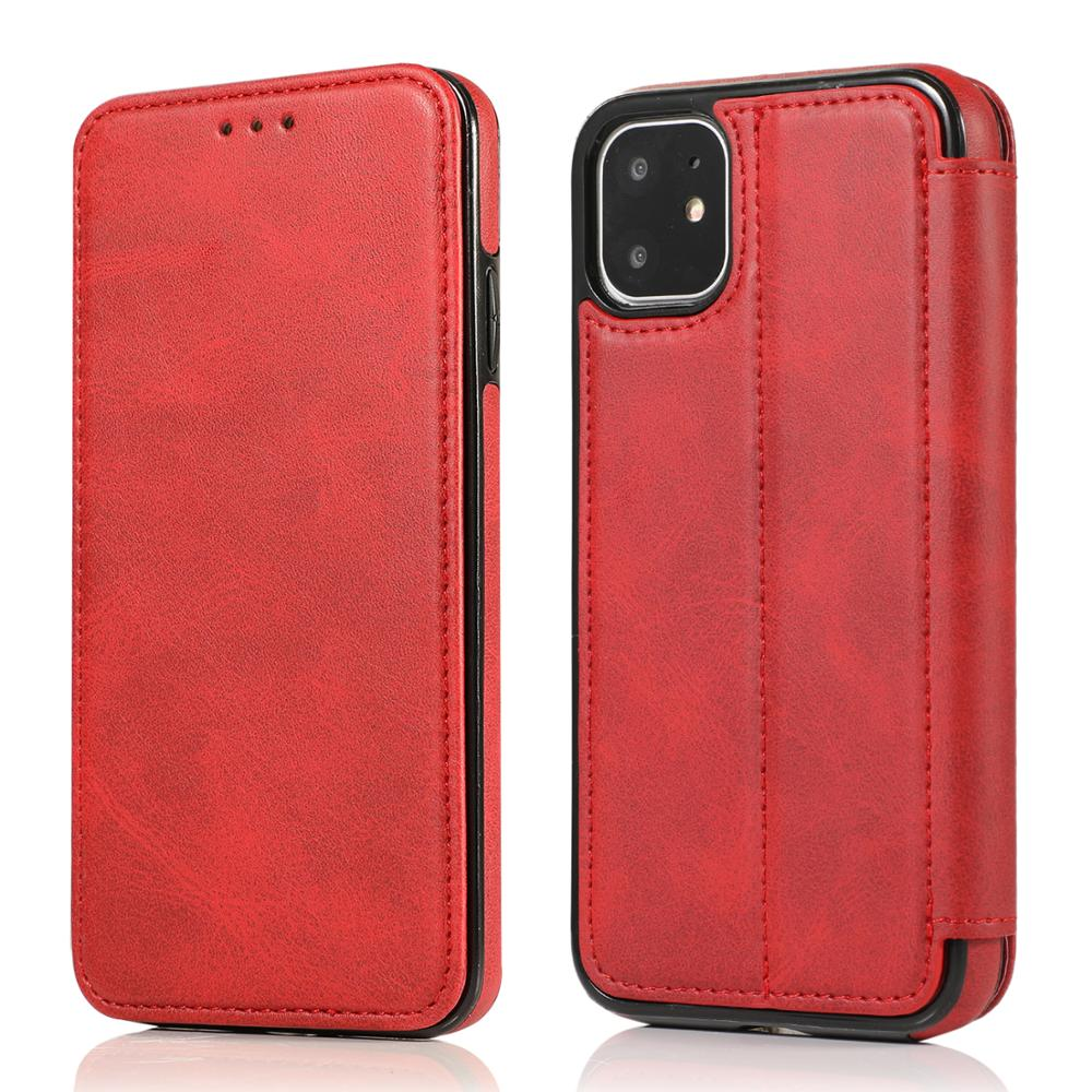 For iPhone 12 Case Cover Luxury Genuine Leather Wallet Flip Cover Mobile Phone Cases for iphone 12 Bags With Card Holder