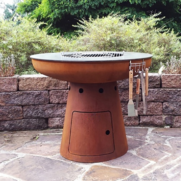 3mm Thick Fire Grill Corten Steel BBQ with Circle Plancha