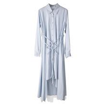 Женское платье-рубашка EAM, синее Ассиметричное платье-рубашка с длинным рукавом и отворотом, весна-осень 2020 JO665(Китай)