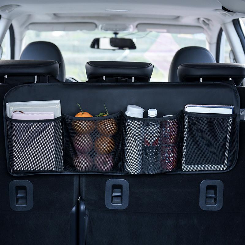 Новый автомобильный Органайзер, сумка для хранения багажника, большая вместительность, с сеткой, на заднем сиденье, кожаное сиденье, задний ...(Китай)