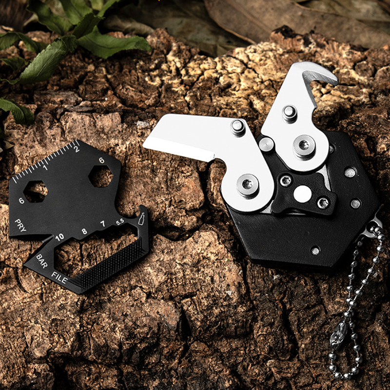 High Quality Stainless Steel Hexagonal Multifunction Folding Knife/screwdriver 14 In 1 Storage Knife Keychain Outdoor Gadgets
