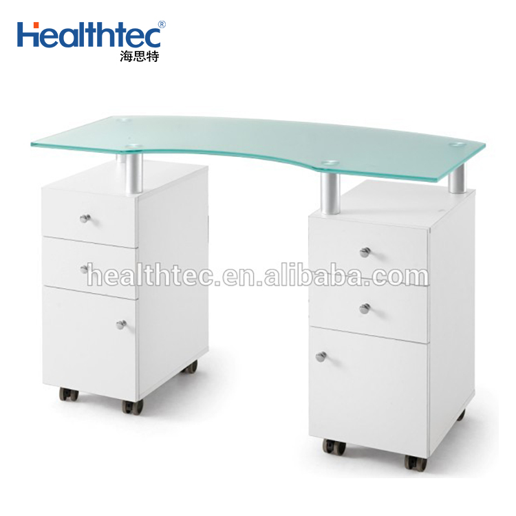 White Manicure Table with Glass Top and Dust Collector for spa salon
