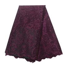 Кружевная ткань с вышивкой Alisa, красная кружевная ткань в африканском стиле с камнями, 5 ярдов/шт, сетчатая кружевная ткань для платьев, 2019(Китай)