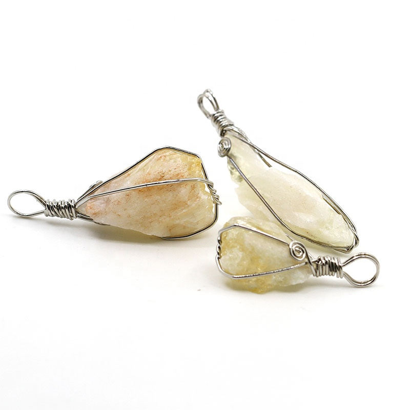 New Arrival Precious Copper Wire Wrapped Citrine Raw Quartz Crystal Pendant Yellow Gemstone Healing Necklace Jewelry