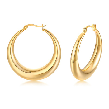 Statement Hollow Big Large Thick Chunky Earring Fashion 18K Gold Plated Stainless Steel Jewelry Hoop Earrings for Women 2020