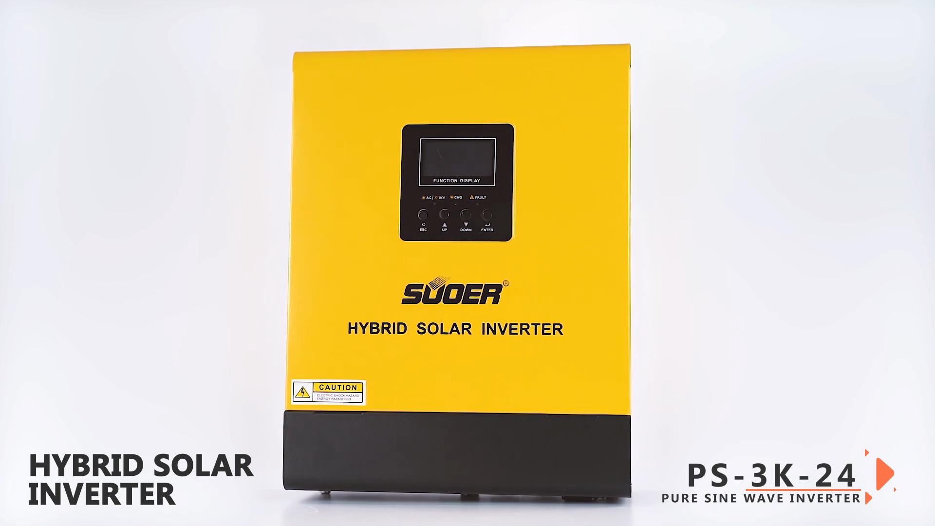 Suoer 24V DC to 230V AC 3000VA 3KVA hybrid solar inverter PWM controller solar system PV inverter