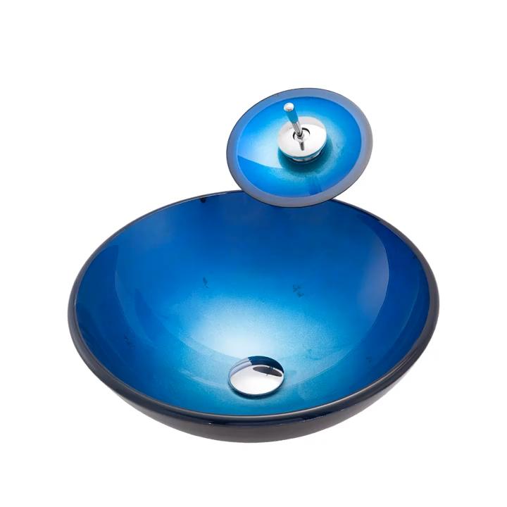 イタリアのデザインアート基本的な青い色の洗面化粧台シンク強化ガラス洗面台キャビネット手洗いステーション浴室洗面器販売