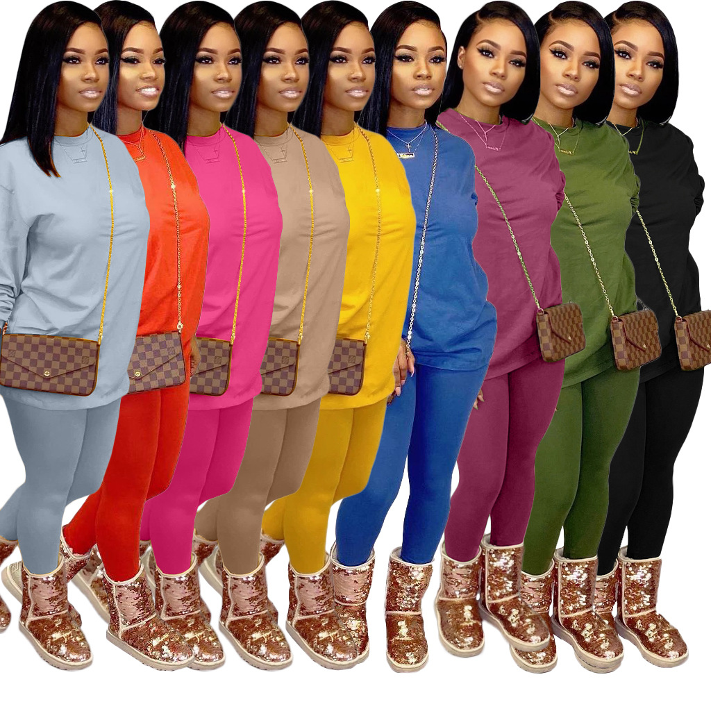 MXN High quality fabric women tracksuit two piece outfit pullover and pants winter fall 2 piece womens sets