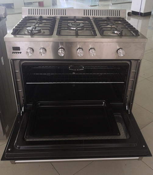 Western Kitchen Equipment Stainless Steel Range Oven 5 Burners Gas Oven With Grill Timer Storage Drawer