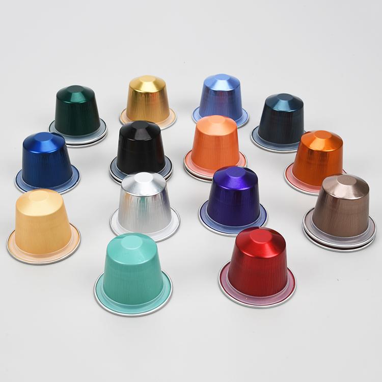 Одноразовые цветные пустые капсулы для кофе Nespresso, совместимые капсулы из алюминиевой фольги, чайные капсулы