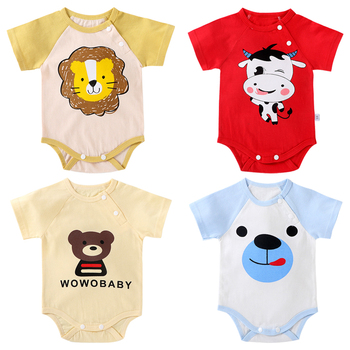 Michley Customized Toddler Summer 100% Cotton Rompers Boys Bodysuits New Born Baby Clothes