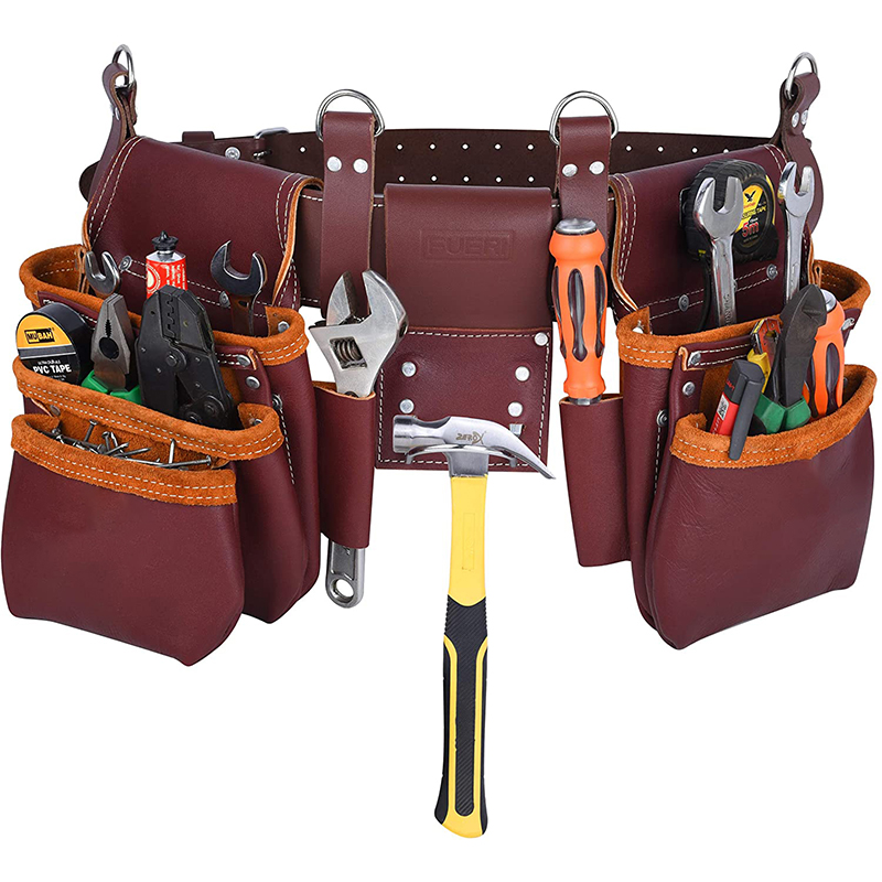 Custom Brown Color waist tools bag Screwdriver waist tools pouch electrician leather tool belt