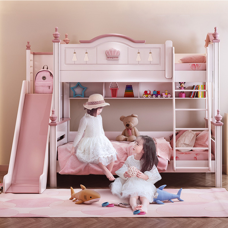 Crown design pink children bed for girls multi-functional bunk bed with slide