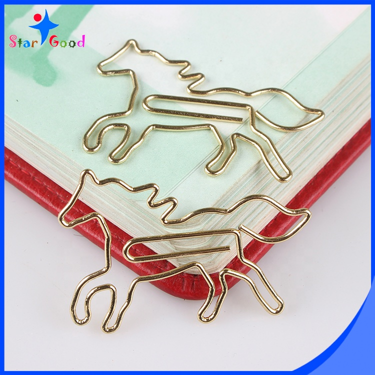 Cute golden color animals shaped metal Horse Shaped Paper Clips
