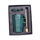 Coffee Direct Deal Gift Box Frosting Luxury Coffee Mug Ceramic Marble Gold Pattern Cup Matte Gold Gift Set