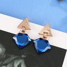 Earrings Blue Stunning Diamond-shaped Crystal Pendant Earrings With Blue Geometric Cone-shaped Rhinestone Gold-plated Elegant Earrings