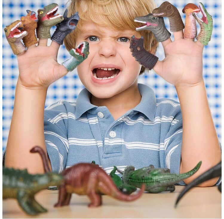 10 PCs Animal Bath Finger Puppets, Dinosaur Head Finger Toys, Treasure Box Prizes, Best Choice for Kids Party Favors