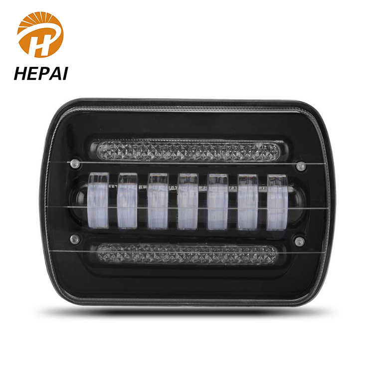 Hot sale 50W LED Headlight Black IP68 Up and Down Angel Ring Auto 7 inch LED Work Light