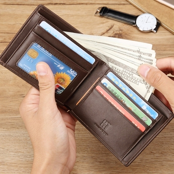 2019 Hautton Best Selling Fashion Men's Multifunctional Slim Wallets Top Leather Man wallet